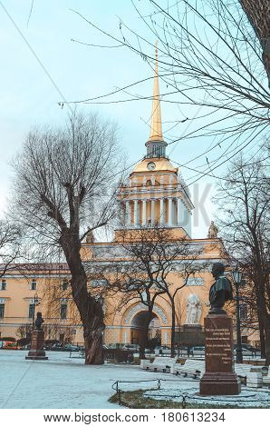 SAINT-PETERSBURG RUSSIA - december 2015: Winter view of Entrance Admiralty Building. Historical Russian city travel. editorial use only