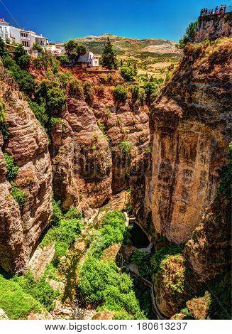 Ronda, Spain, a landscape with the Tajo Gorge.