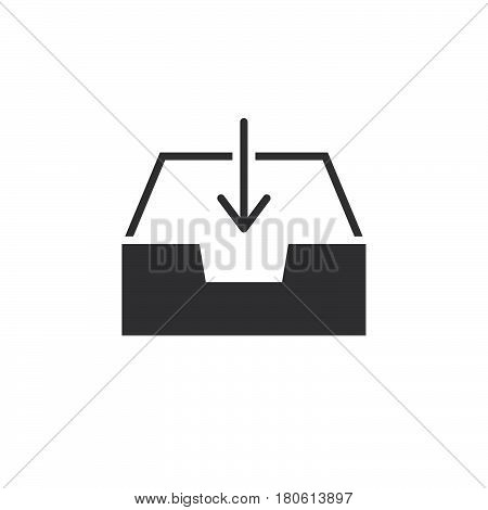 Inbox Icon Vector, Box And Arrow Solid Logo Illustration, Pictogram Isolated On White