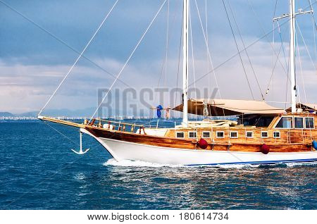 Side view of passenger boat or sailing yacht