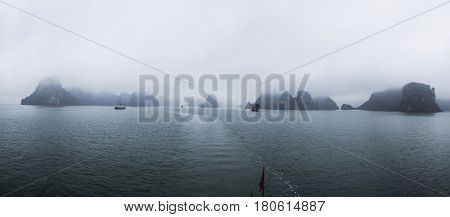 Panoramic view of Halong bay, an UNESCO World Heritage Site, and a popular travel destination in Vietnam.