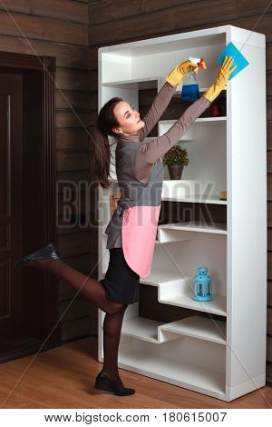 Woman in uniform with rag and cleaning agent