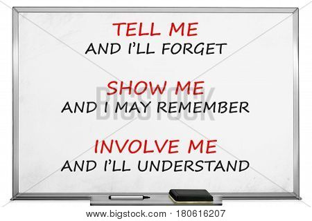 Tell me, show me, involve me, whiteboard