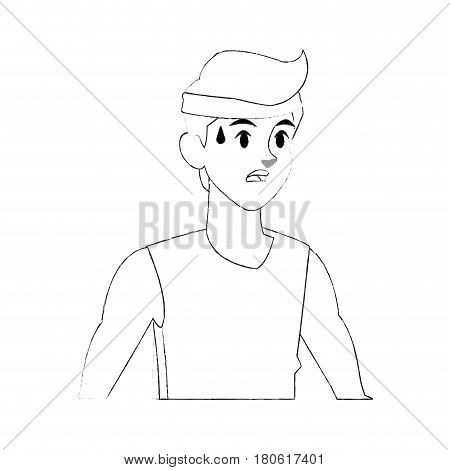 young man sweating sport icon image vector illustration design   simple sketch line