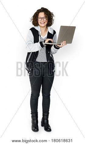 Young Adult using Laptop Studio Portrait
