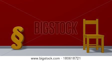 paragraph symbol and chair - 3d rendering