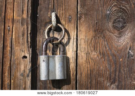 The Old Door Locked With A Padlock. Set