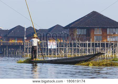 Traditional floating village at Inle Lake, Myanmar.