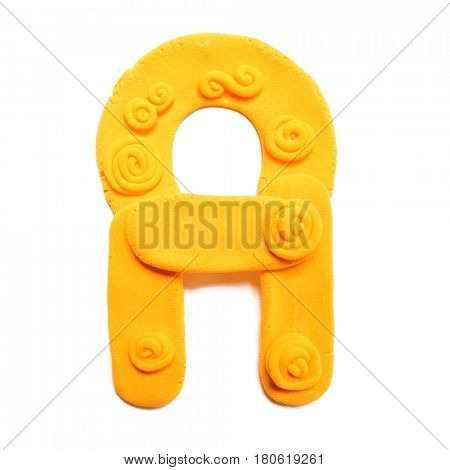 Plasticine letter A . Color plasticine alphabet, isolated.