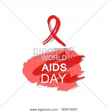 Hand drawn red AIDS HIV ribbon design template with text World AIDS day. World AIDS day.