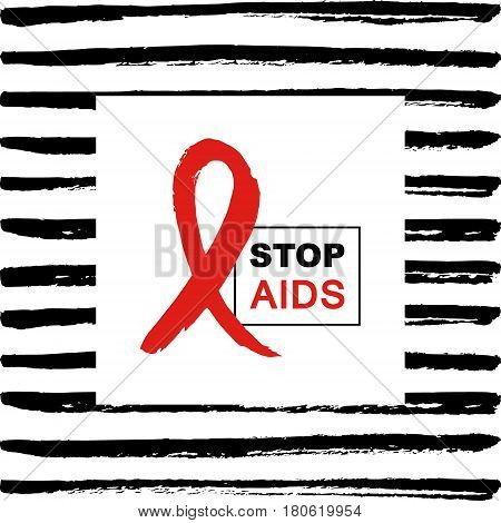 Hand drawn red AIDS HIV ribbon design template with text STOP AIDS day. World AIDS day.