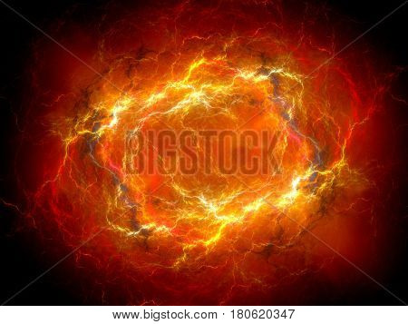 Fiery red glowing plasma lightning in space computer generated abstract background 3D rendering