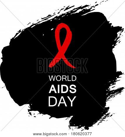 Hand drawn red AIDS HIV ribbon design template with text World AIDS day..World AIDS day. Medical sign..World AIDS Day ribbon for AIDS background. AIDS Awareness ribbon.