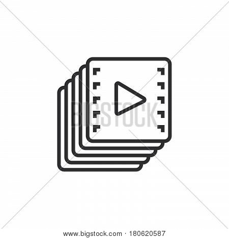 Video Collection Line Icon, Playlist Outline Vector Logo Illustration, Linear Pictogram Isolated On