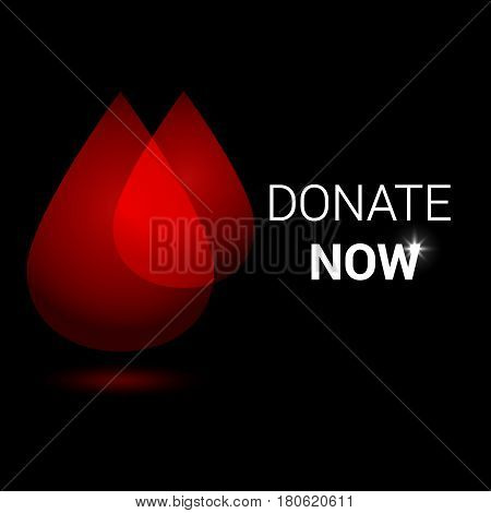 Realistic blood drop for World Donation Day. Give blood save lives message. Medical background.