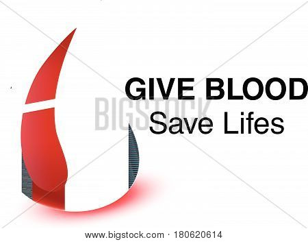 Realistic blood drop for World Donation Day. Give blood save lifes message..Medical background. Vector illustration.