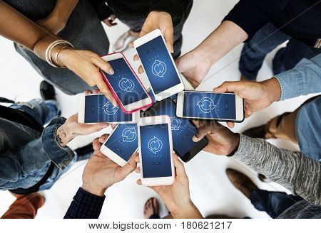 Hands Hold Mobile Phone Show Sync Symbol