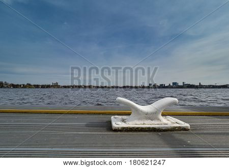 white cleat at boat landing-stage in Hamburg Germany
