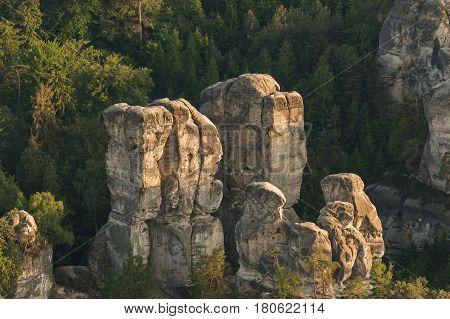Sandstone rocks in the Bohemia Paradise. Aerial view