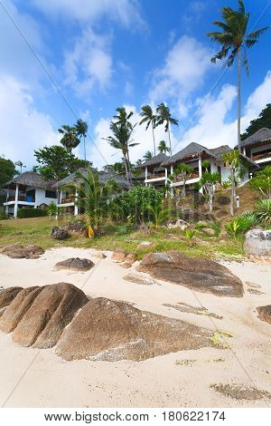 White tourist houses on the bank of the beach with sand and boulders. Rare palm trees.