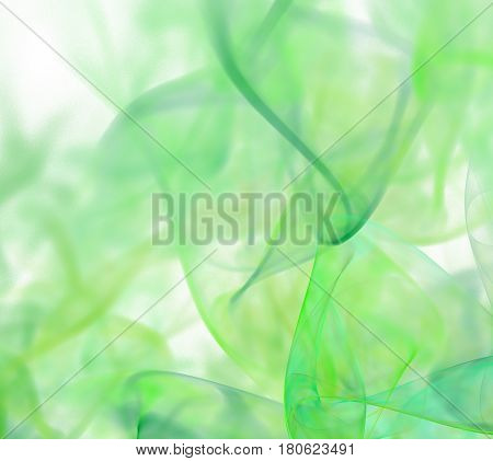 Abstract White Fractal Background. Green Fabric Pattern. Transparent Textile Texture. Smoke Or Ink P