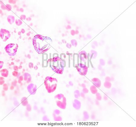 Abstract white fractal background 3d rendering. Pink and purple glass rhinestone pattern. Transparent chrystal heart texture. Valentine's gems and jewels for greeting card.