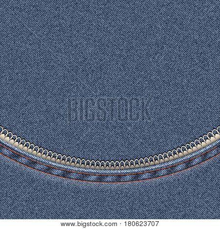 Denim background with a semicircular seam with lace. Vector illustration.