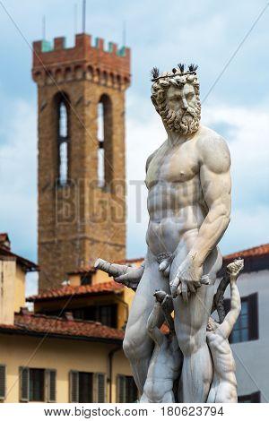 Renaissance statue of Neptune on the in Piazza della Signoria in Florence, Italy