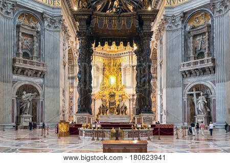 ROME, ITALY - MAY 12, 2014: Interior of St. Peter's Basilica. St. Peter's Basilica is one of the main tourist attractions of Rome.