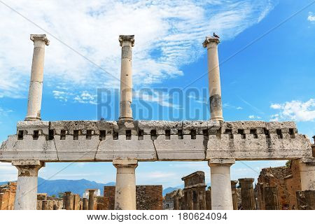 Ruins of the Forum in Pompeii, Italy. Pompeii is an ancient Roman city died from the eruption of Mount Vesuvius in 79 AD.