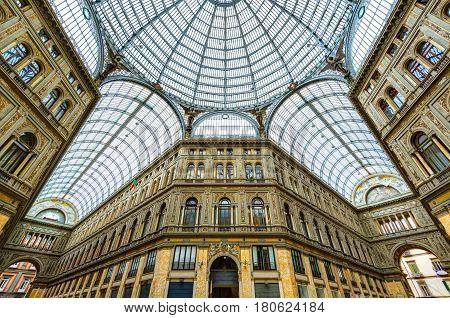 NAPLES, ITALY - MAY 13, 2014: Galleria Umberto I in Naples.
