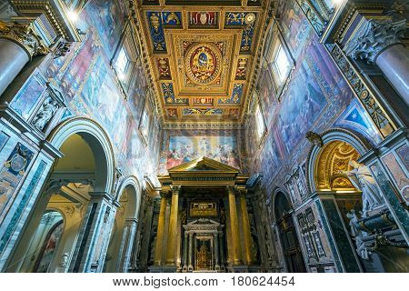 ROME, ITALY - MAY 14. 2014: Interior of the Basilica di San Giovanni in Laterano (Papal Archbasilica of St. John Lateran), Rome.This basilica is the most important in the Catholic world.