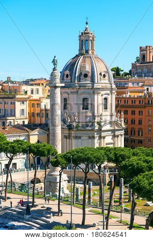 ROME, ITALY - MAY 15, 2014: View of the Forum of Trajan with his column. Forum of Trajan is a famous tourist attraction.