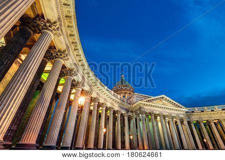 Kazan Cathedral at White Nights in Saint Petersburg, Russia