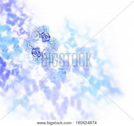 Abstract White Fractal Background. Transparent Hexagonal Texture. Blue And Tuquoise Spots Pattern. I