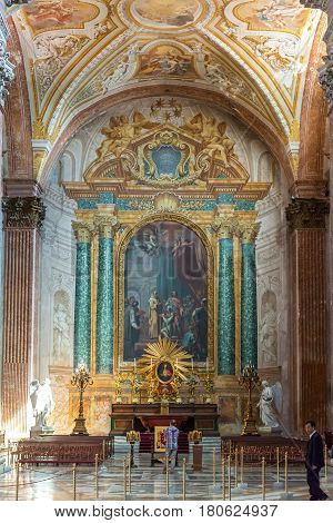 ROME, ITALY - MAY 8, 2014: Interior of the Basilica of St. Mary of the Angels and the Martyrs (Santa Maria degli Angeli e dei Martiri) built inside the Baths of Diocletian in the 16th century by Michelangelo.