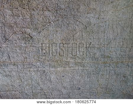 Old Stone Background Texture. Cave Wall Rusty Pattern Scratched With Marks. Grey Rusty Rock With Lev