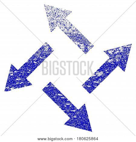 Centrifugal Arrows grunge textured icon. Flat style with unclean texture. Corroded vector blue rubber seal stamp style. Designed for overlay watermark stamp elements with grainy design.