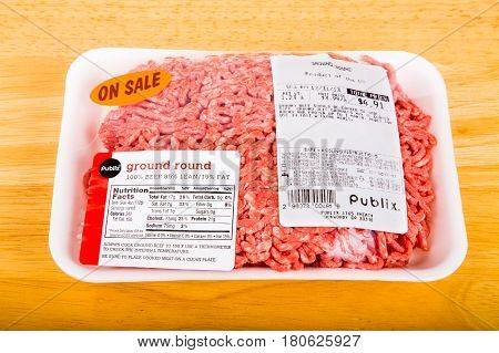 ATLANTA GEORGIA - December 30. 2013: Nutrition Information has been the norm since 1990. In addition ground beef is required to state the fat content vs lean.