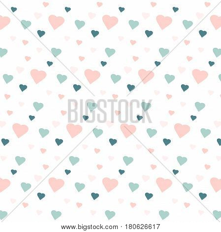 Blue and pink hearts on white, stock vector illustration
