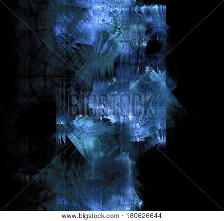Blue frost exploding on dark glass. Black abstract background with triangle fractal texture. Turquoise crushed ice crystals in 3d space.