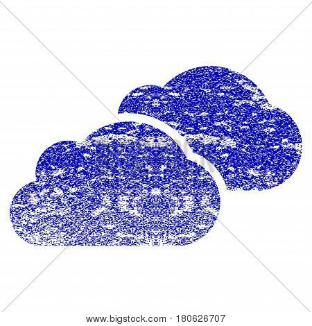 Clouds grunge textured icon. Flat style with dirty texture. Corroded vector blue rubber seal stamp style. Designed for overlay watermark stamp elements with grainy design.