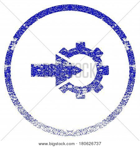 Cog Integration grunge textured icon. Flat style with dust texture. Corroded vector blue rubber seal stamp style. Designed for overlay watermark stamp elements with grainy design.