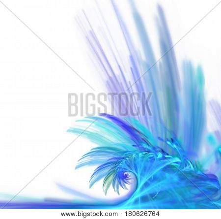 White abstract background with fractal texture. Blue water splatter and water drops in the air. Turquoise big wave on the sea surface.