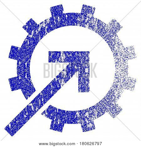Cog Integration grunge textured icon. Flat style with scratched texture. Corroded vector blue rubber seal stamp style. Designed for overlay watermark stamp elements with grainy design.