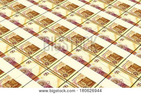 Tongan Pa'anga bills isolated on white background. 3D illustration.