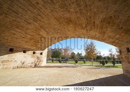 Serrano bridge in Valencia in Turia park at Spain