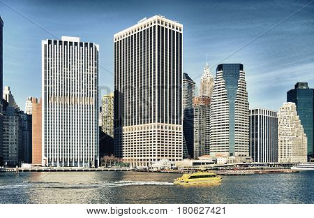 HDR view of Lower Manhattan at sunny day.