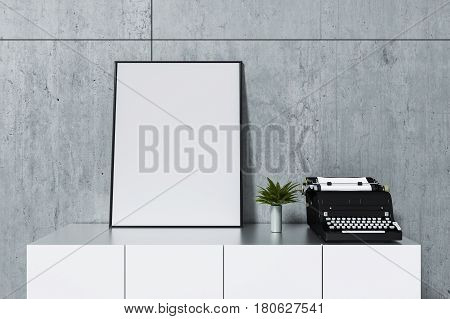 3d rendering : illustration of white mock up frame with cement concrete wall. hipster background. mock up white poster or picture frame.white shelf and typewriter with frame. clipping path included