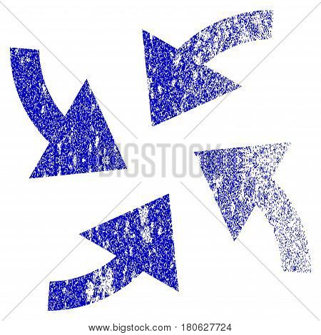 Cyclone Arrows grunge textured icon. Flat style with dust texture. Corroded vector blue rubber seal stamp style. Designed for overlay watermark stamp elements with grainy design.
